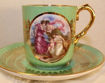 Windsor: RARE! Demitasse and saucer, with a beautiful angel scene