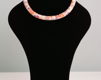 Floral beaded cord necklace