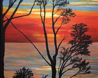 Abendstimmung Steilküste Stolteraa, Acrylmalerei auf Leinwand, 30 x 40 cm