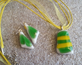 Green, Yellow and White Fused Glass Pendant and Earrings (R022)
