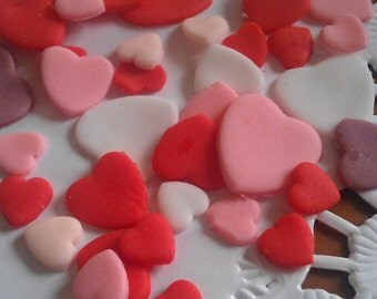 150 Fondant Hearts different size for a Valentine's day, Wedding fondant decoration, Bridal, Easter decor, Girls birthday, spring, summer
