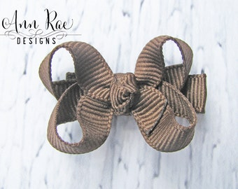 Brown Baby Hair Bow, Baby Hair Clip, Baby Bows Girls Hair Bow, Toddler Bows Boutique Baby Bow, Baby Girl Hair Bow Small Hair Bow Little Bows