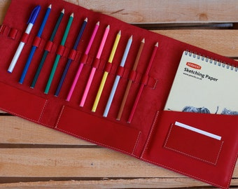 Leather Sketchbook Case, Leather Tool Roll, Sketchbook, Sketchpad, leather art journal, Drawing, Leather Pencil Case, Drawing Case, Red, A5
