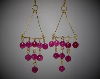 Fuchsia Quartz & Gold Chandelier Earrings