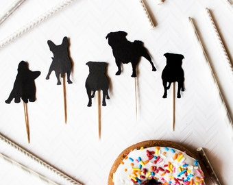 12 Silhouette Dog Cupcake Toppers // Pug Toppers // Pug Silhouette // Custom Dog Silhouette // Dog Birthday Party // Silhouette Toppers
