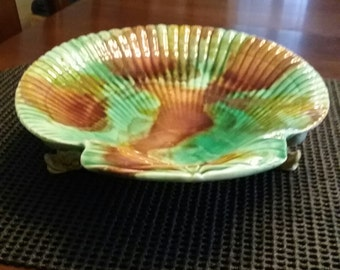 Majolica Footed Shell Compote