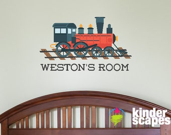 Personalized Train Wall Decal Kids Wall Decal Boys Train Decal Printed Vinyl  Decal