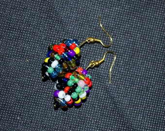 Multi Colored Clustered Bead Earrings