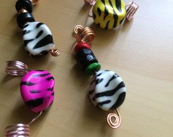 zebra print dreadlock & braid hair jewelry