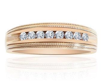 0.35 Carat Round Cut Brilliant Diamond Wedding Band 14K Yellow Gold