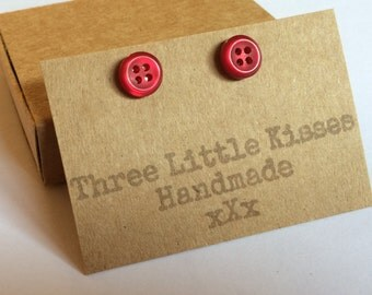 Little Cherry Red Button Earrings | Gifts for Her | Handmade Jewellery