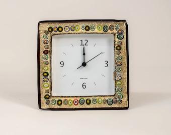 Murrine gold Murano glass table clock