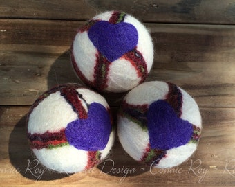 Wool Dryer Balls (set of 3) ~ Eco Friendly Non Toxic Alternative to Dryer Sheets