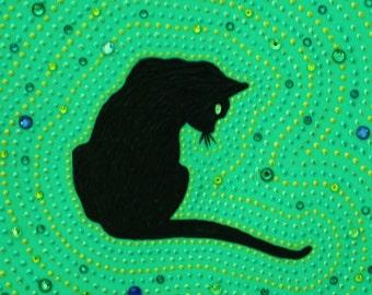 Mosaic-inspired, hand-painted, black cat wall art