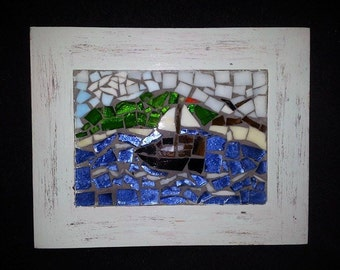 Hand Crafted Mosaic Sailboat Picture In Hand Painted & Distressed Frame
