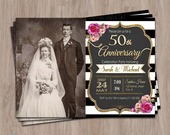 50th Anniversary Invitations, 50th anniversary invites, Photo, Fiftieth Anniversary,  50 Anniversary Party Invites, 20th, 30th, 40th, 60th