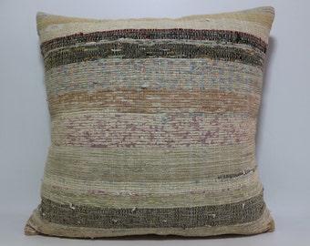large size multicolor pillow Turkish kilim cushion cover Striped kilim pillow 24x24 sofa pillow home decor turkish kilim pillow SP6060-559