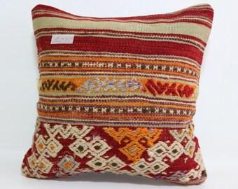 16x16 boho pillow Ethnic Pillow Red Kilim Pillow Embroidered Kilim Pillow Turkish Anatolian Pillow natural pillow throw pillow SP4040-1032