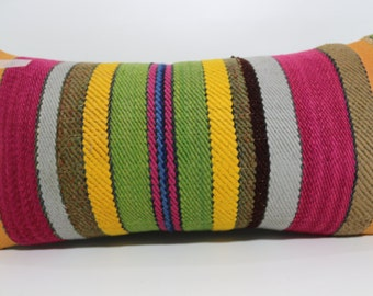 Multicolour Pillow Natural Pillow 12x24 Ethnic pillow Striped Kilim Pillow home decor Decorative Pillow boho pillow throw pillow SP3060-654