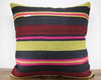 kilim pillow 32x32 ,kilim cushion cover , decorative pillow,large pillow,big floor cushion case,green/black striped kilim pillow SP8080-31