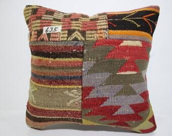 kilim patchwork pillow cover 16x16 pathcwork kilim cushion cover vintage kilim pillow cover throw pillow flat woven cushion cover SP4040-635