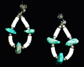 Sterling Silver, Shell and Turquoise Jacla Earrings