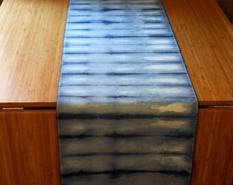 Shibori hand dyed indigo table runner table cloth natural fibre cotton polyester