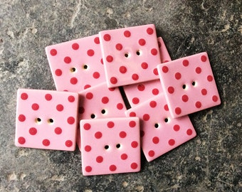 8 Square Ceramic Buttons, Handmade Buttons, Pink Dotty Buttons, Pink Buttons, Cute Buttons.