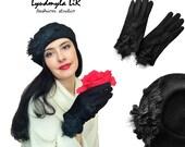 "Couture French Beret Hat & Gloves set #2 ""Winter Glamour Collection"" Luxury Women's Accessories Black Wool Felt Headpiece Swarovski Crystals"