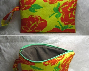Fabric Clutch, Wristlet with Strap and Zipper