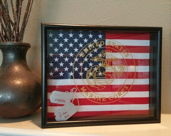 Marine Corps Shadow Box Frame with Flag