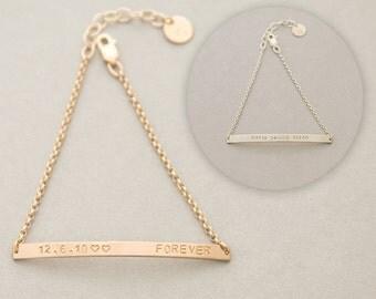 Skinny Bar bracelet, sterling silver or gold filled, 3mm bar