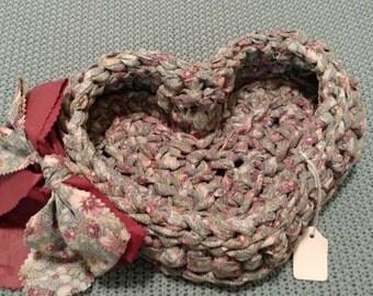 Crocheted Heart basket