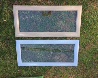 Handmade and distressed antique glass window frames - Annie Sloan Louis Blue & French Linen