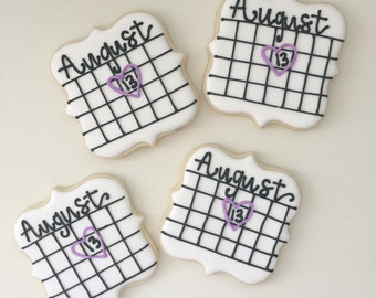 Save the Date Cookies, Wedding Cookies, Engagement Cookies, Dessert table, Party Favors, Bridal shower cookies, bridesmaid cookie