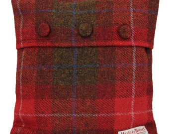 Harris Tweed Wool Cushion Cover Red and Brown Tartan Woven Button Fastening Size 30x30cm, 11x11inc Home Decorative Cushion
