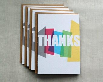 Rainbow Thanks Card Set, Thank You Card Set, Stationery Set, Note Cards, Thank You Cards,
