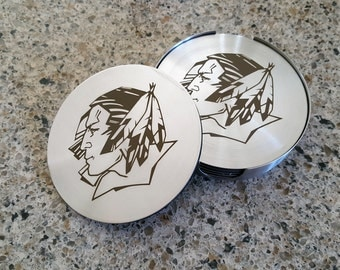 UND Fighting Sioux Laser Etched Stainless Steel Coasters - Set of 6 - FREE SHIPPING