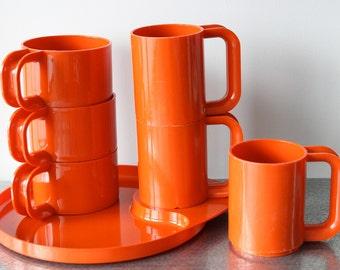 Sterilite Orange Plastic Serving Set, Heller style, 3 Mugs & Cups, 1 Tray