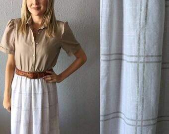 Vintage Beige Plaid Print Midi Dress