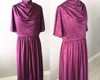 1970's Purple Floral Mock Turtleneck Bohemian Midi Dress
