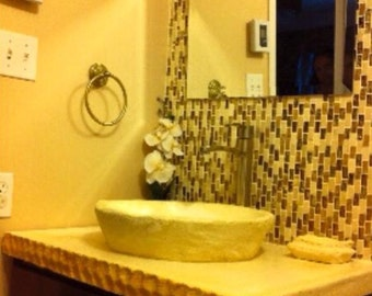 Hand made stone vessel sink and countertop