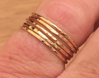 Solid 9ct rose gold stacking rings