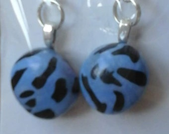 Blue and black clay earrings
