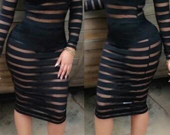 Black Semi Sheer Round Neck Bodycon Dress - Size Medium