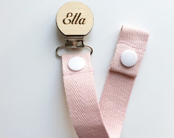 Baby Pink - Dummy Clip - Pacifier Clip - Baby Shower - Wooden Dummy Clip - personalised wooden Clip - Baby girl gift - Unique baby gift