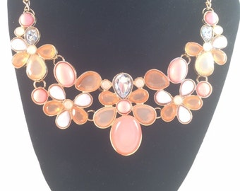 Pink Flower Pattern Statement Necklace