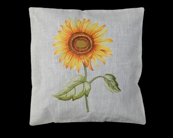 Vintage Pillow Throw Cushion Embroidered Sunflower White Linen Accent c1960