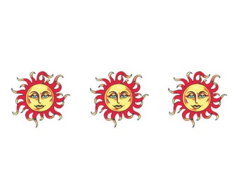 3 Small Sun Temporary Tattoos (#D345_3)