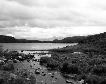 Black and White Photography: Mountains on the Loch Scotland Black and White Photographic Print